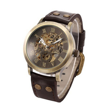 New Design Men's Steampunk Bronze Skeleton Auto Mechanical Leather Wrist Watch free shipping