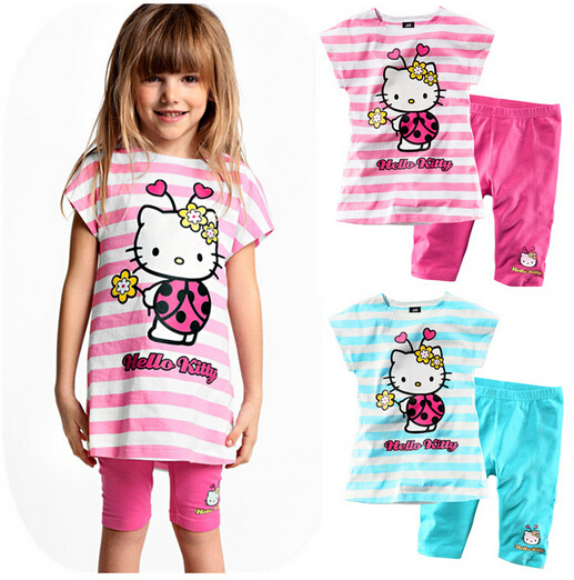 On sale 1pcs,,children's clothing set hello kitty clothes 100%cotton short sleeve cusual suit,t shirt+skirt,free shipping(China (Mainland))