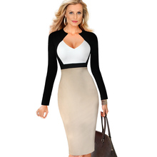 Buy eSale Womens Elegant V Neck Colorblock High Waist Slimming Cotton Tunic Wear Work Office Sheath Pencil Wiggle Dress CG1612 for $14.96 in AliExpress store