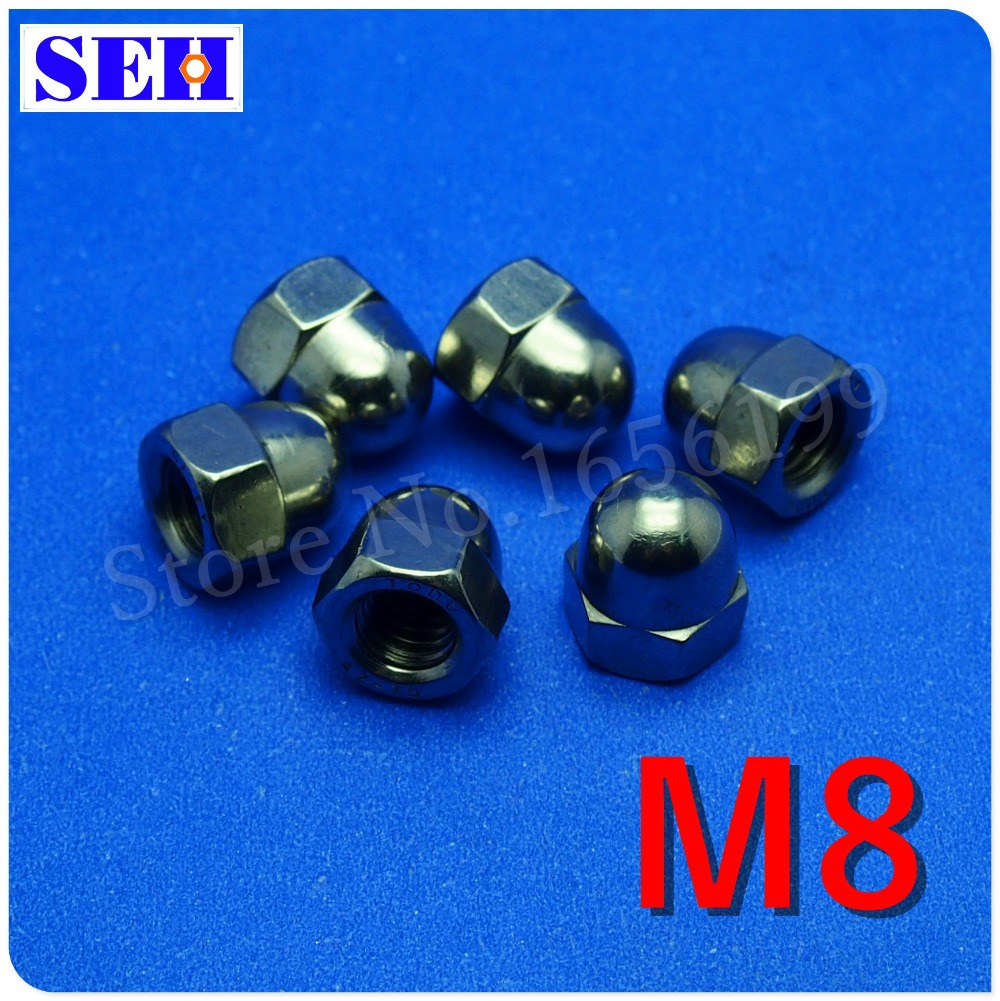 500pcs Metric M8 Hex Cap Nuts 304 Stainless Steel Dome Head Hex Nuts Protection Cover Nuts fastener hardware<br><br>Aliexpress