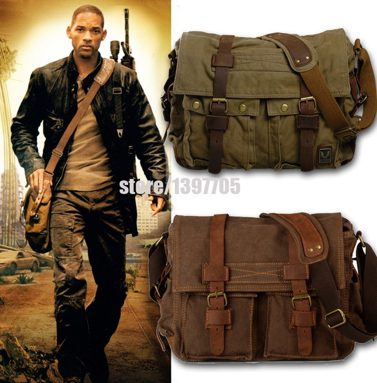 HOT Canvas crossbody bags for women,I AM LEGEND Will Smith military vintage men messenger bags Casual men's travel bags HF2138#(China (Mainland))