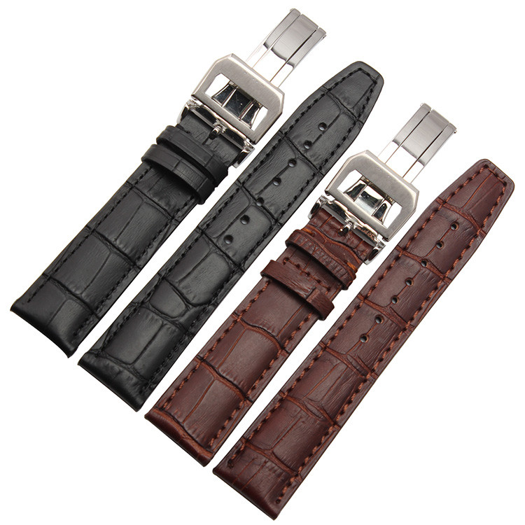 NEW High quality Watchband 20mm 21mm 22mm Alligator Pattern New Men Black Genuine Leather Watch Band Strap  For Pilot  IW356501<br><br>Aliexpress