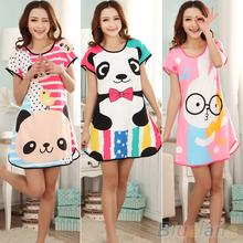 Great Cute Women s Cartoon Polka Dot Sleepwear Pajamas Short Sleeve Sleepshirt 2MY2 4PW5