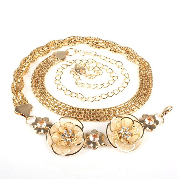 Women Metal Gold Waist Chain High Waist Crystal Rhinestone Flower Belt Wasitband(China (Mainland))