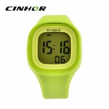 Synoke silicio colorido reloj del deporte Casual mujeres y hombres Back Light Digital natación impermeable del reloj del Color del cielo ColorGreen