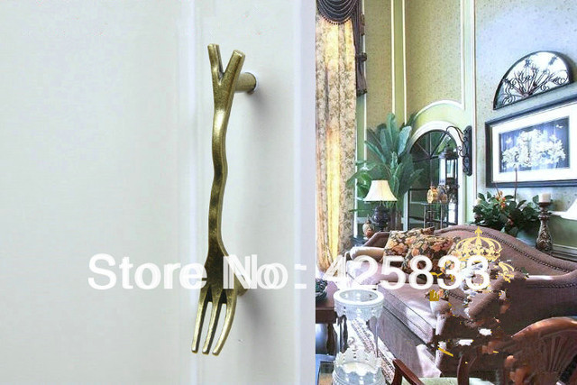 76mm Fork Style Antique Tableware Handles Zinc Alloy Cabinet Handle Kitchen Cartoon Kids Knobs Dresser Pull Drawer Handle Free