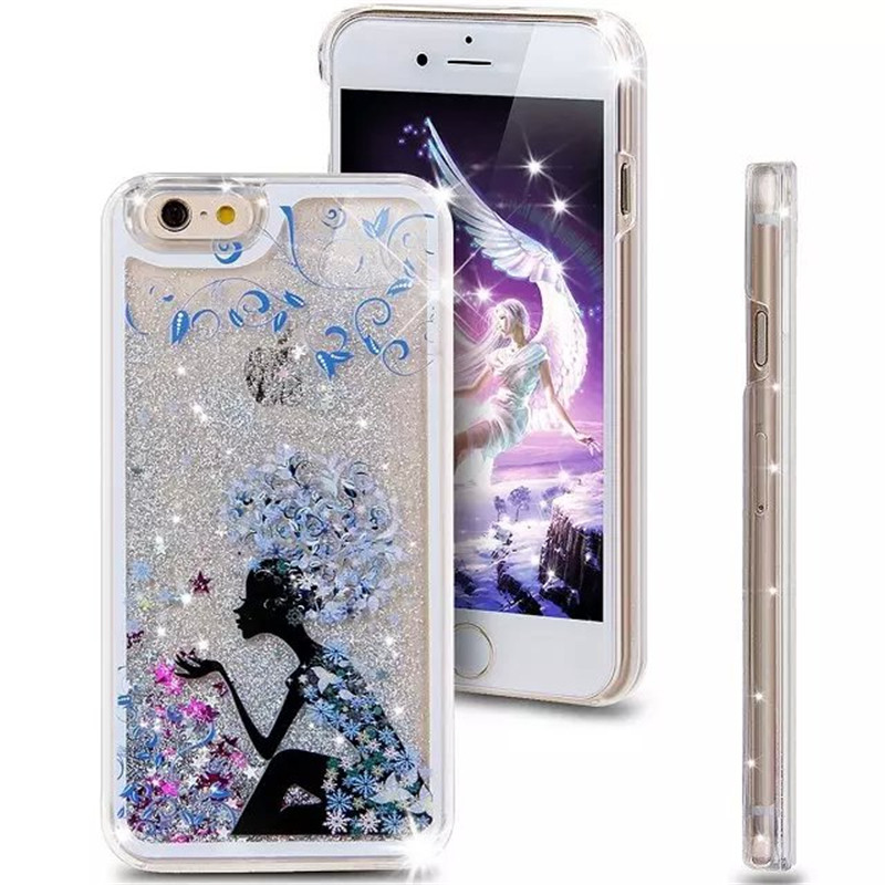 Dynamic Liquid Glitter Sand Quicksand Case For iphone 5 5S 6s 6 plus Crystal color painted phone Back Cover PC Transparent shell(China (Mainland))