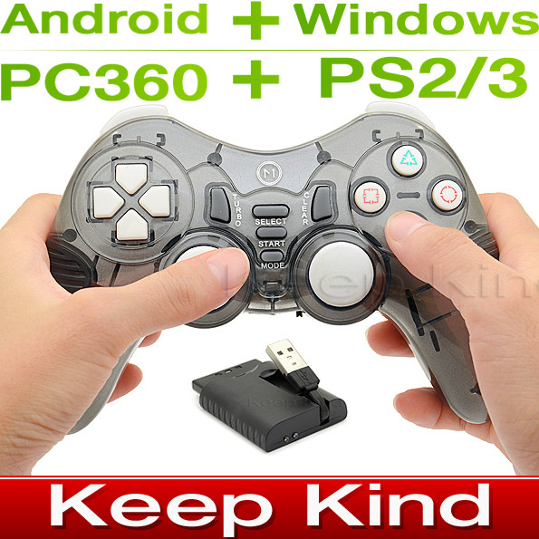 Double Shock Wireless Game Controller joystick 2.4G Wireless Gamepad for PC PS2 PS3 Android TV / TV Box + Gift Rocker Cap ALP015(China (Mainland))