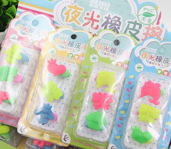 Wholesale , free shipping ,36pcs/12 cards cartoon eraser  /Luminous cute cartoon ring/ 15*6.6CM<br><br>Aliexpress