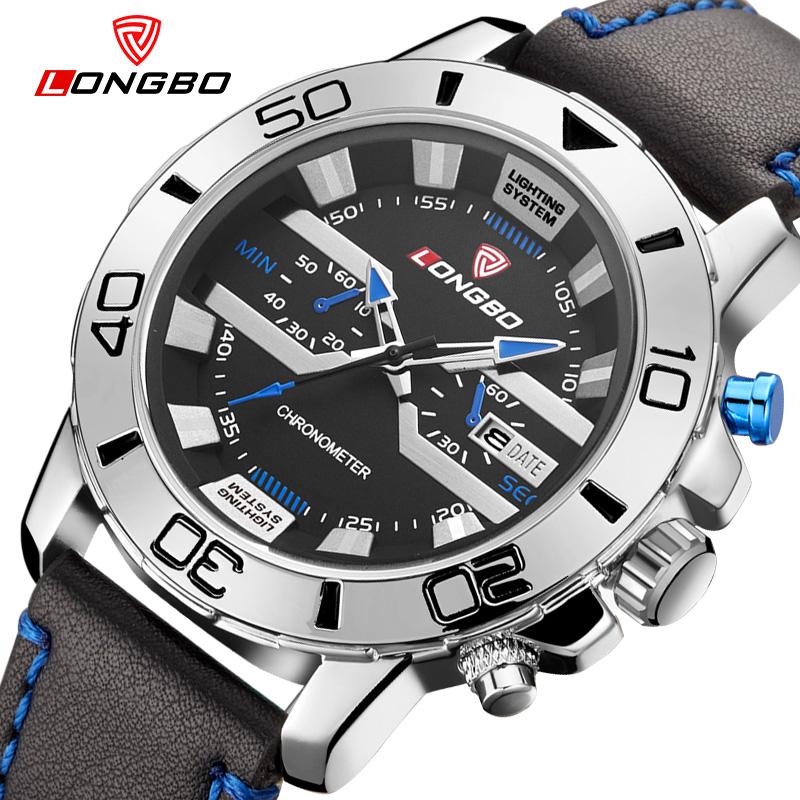 Unique style LONGBO brand watch men leather strap sport quartz date big dial waterproof relogio masculino 2016 - NEW AIR boutique flagship store