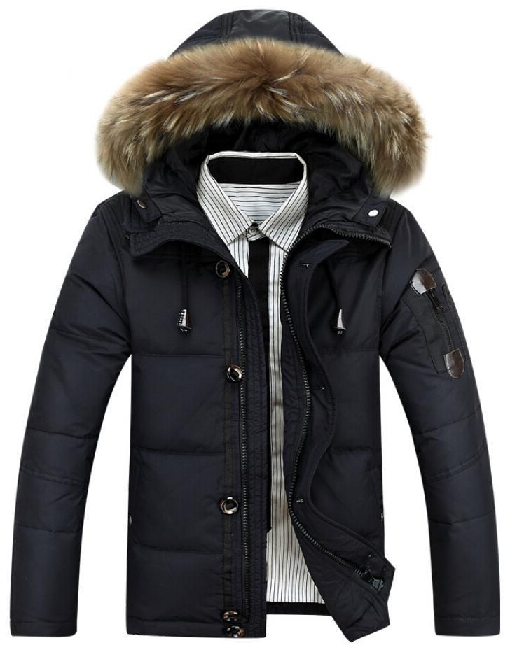 2015 Men Coats Long Jackets Fashion Detachable Fur Hood Outware Warm Clothes Winter Down Coat Wholesale