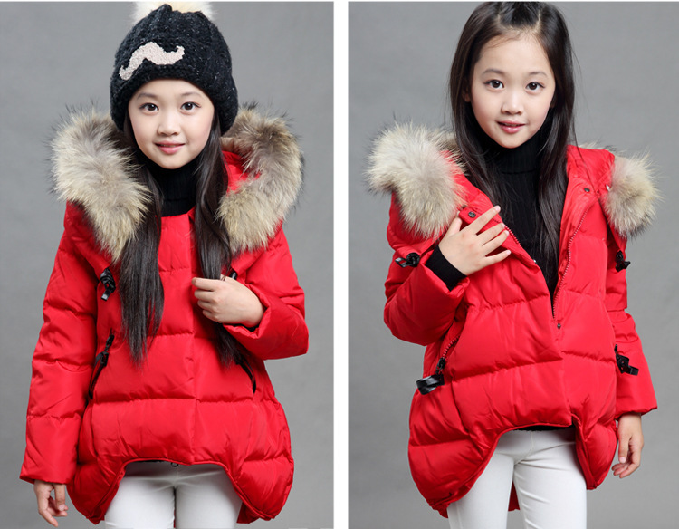 Apparel New arrival 2015 children's clothing children's down jacket and long sections baby girls thick winter Slim Down 4 colors(China (Mainland))