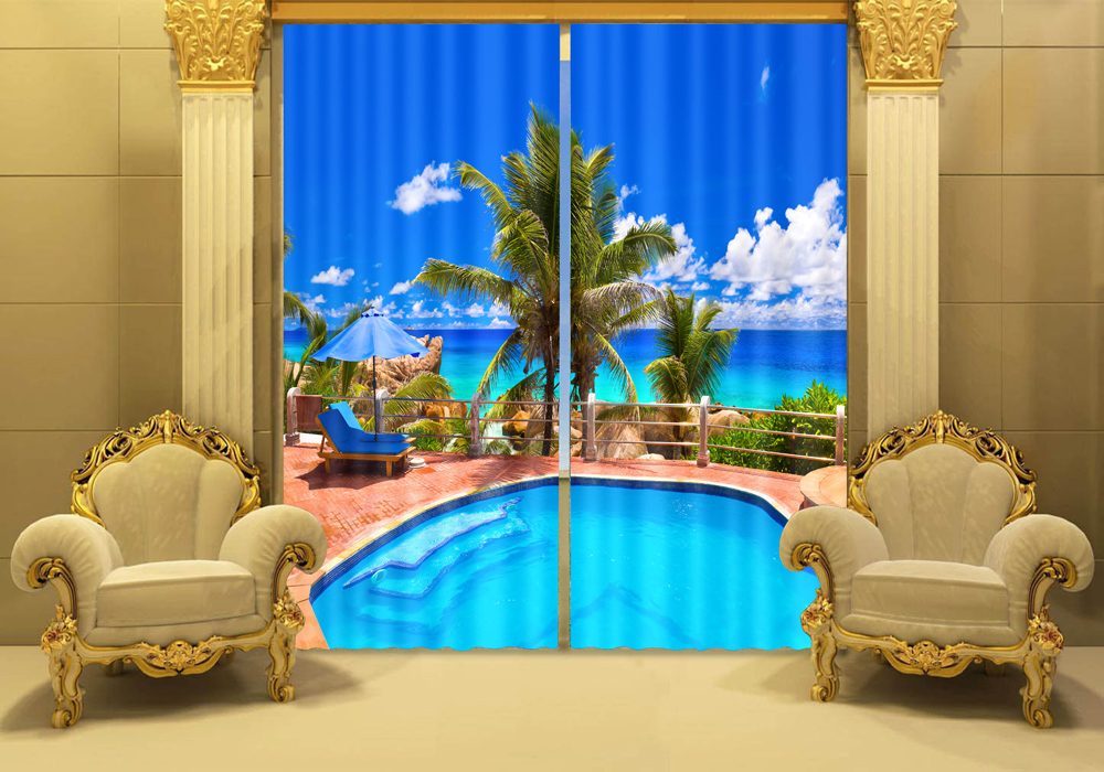 2016 New Hottest Cool Shower Curtain 3d Digital Picture Printing Living Room Window Curtain In