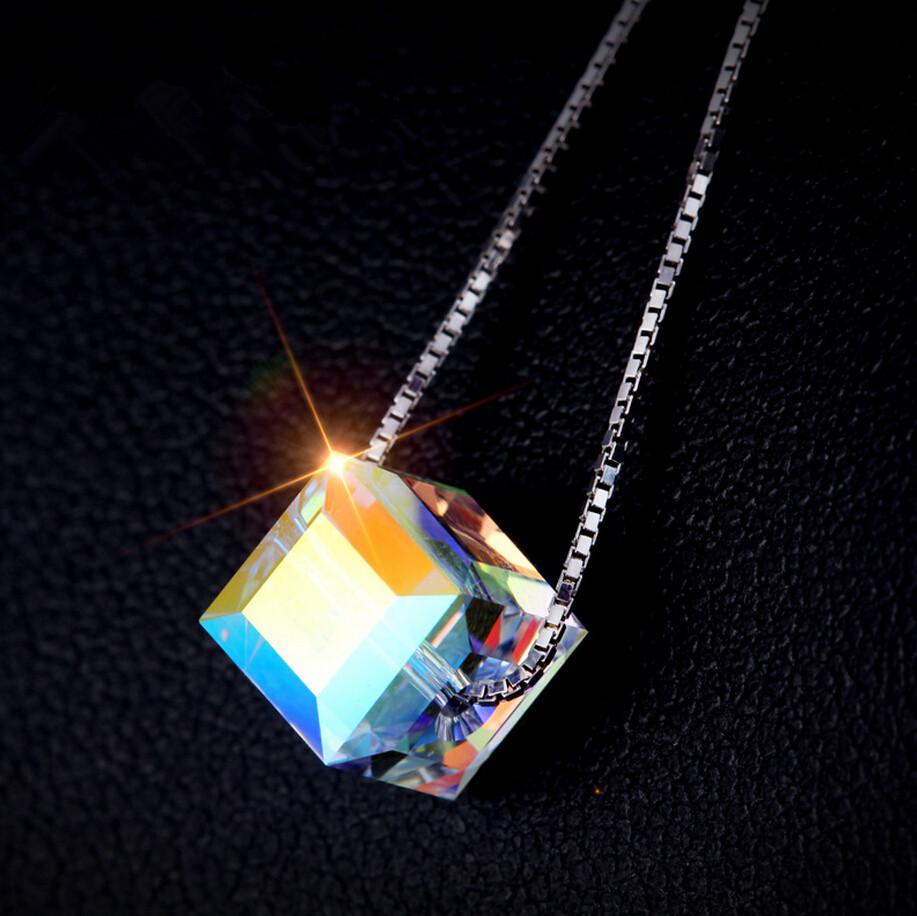 Dafu 100% 925 чистое серебро австрийский кристалл ожерелье Cube кристалл ожерелье