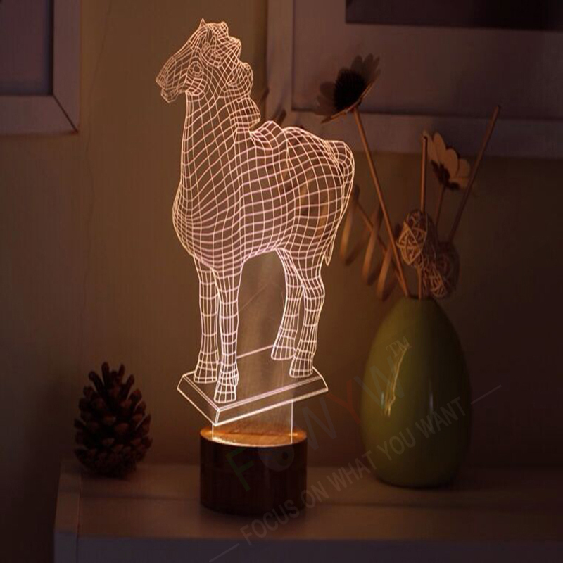 item  hot sale d led lamp horse three dimensional bedside birthday gift free shipping