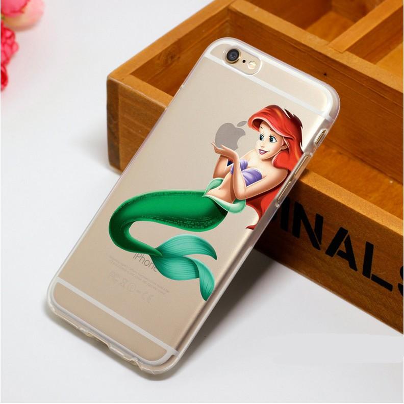 Princess Ariel Little Mermaid Semi Transparent Plastic Hard Cover For iPhone SE 4 4s 5 5s 5C 6S 6 Plus 7 7Plus Free shipping