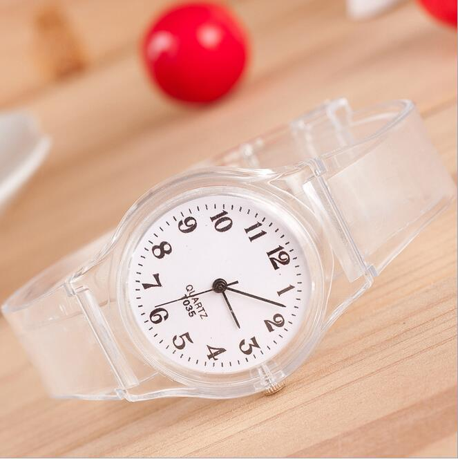 Гаджет  Hot Transparent Silicone strap Super Quality  Crystal Watch  Cartoon Novelty Student Watch Free Shipping None Часы