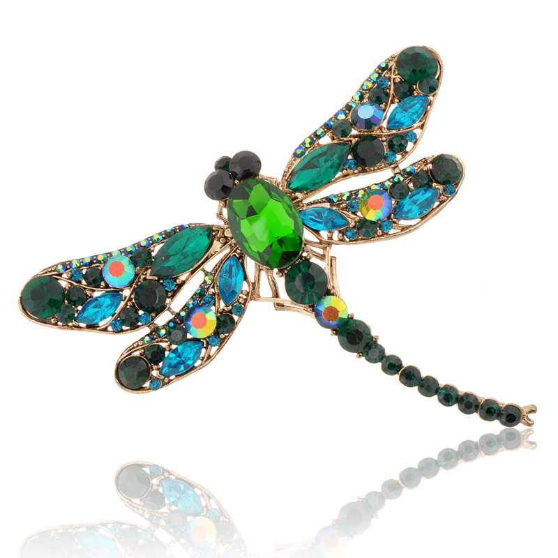 Hot 2015 New Fashion Jewelry Broochs 8 Colors Vintage Lovely Dragonfly Crystal Rhinestone Scarf Pins Brooches