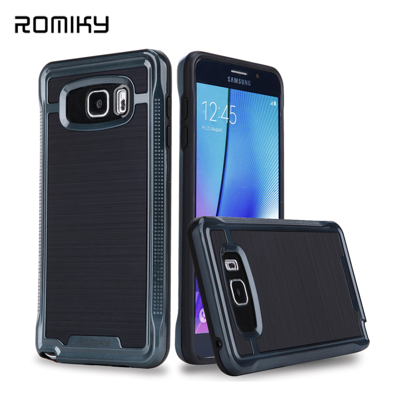 ROMIKY Original brand 2 in 1 Hybrid Plastic TPU Soft Case for Samsung Galaxy S6 edge plus note 5 drop proof brushed armor covers(China (Mainland))
