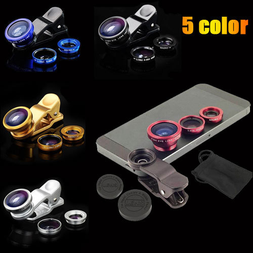 Universal 3 in 1 Clip fish eye lens wide angle macro cell mobile phone lens For iPhone 4 5 6 plus Samsung S4 S5 original fisheye