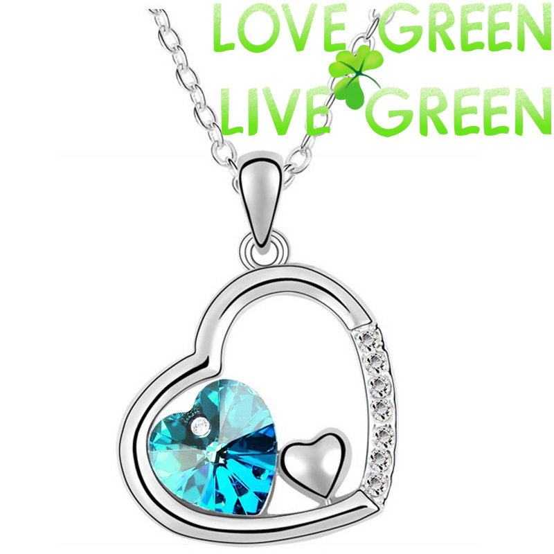 Factory Wholesale cheapest lowest price 18K GP fashion Austrian Crytal Ocean Heart  Necklace Pendant Fashion jewelry 83004(China (Mainland))