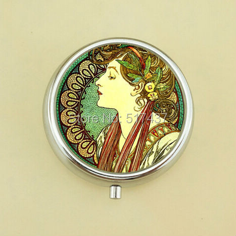 Free Shipping Goddess Pill Box Green Mucha Glass Photo Jewelry Mini Pill Box Metal Pill Case(China (Mainland))