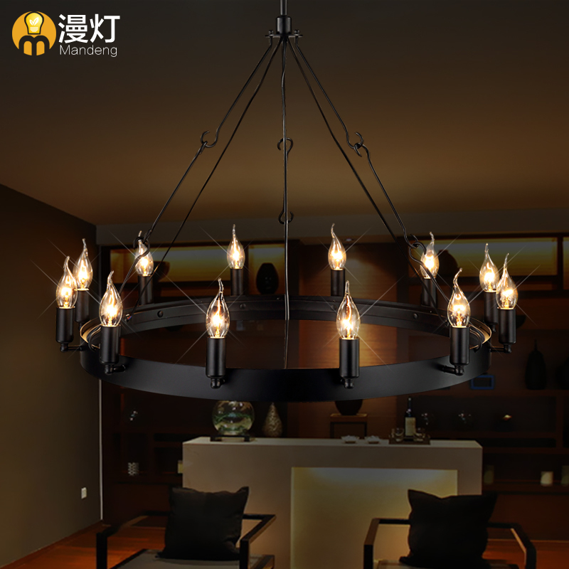 [Man] American retro light industrial restaurant bar Continental Iron chandelier candle chandelier 12 Round Table(China (Mainland))