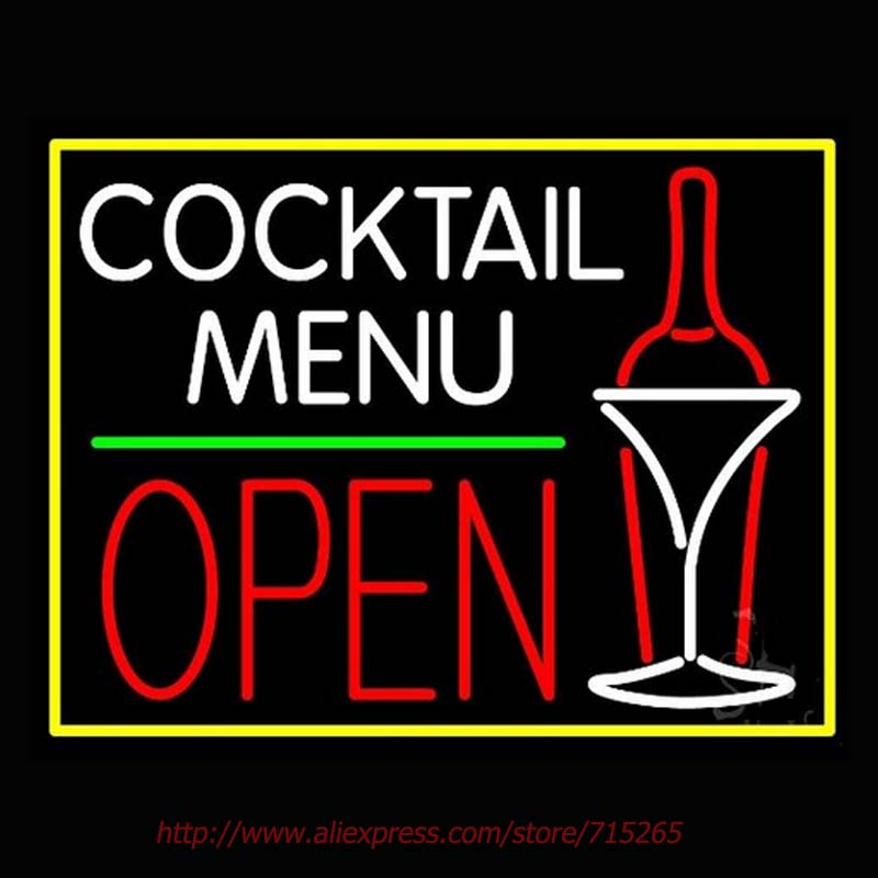 Cocktail Menu With Bottle And Glass Open Neon Sign Neon Bulbs Led Signs Real Glass Tube Room Restaurant Hotel Store Display31x24(China (Mainland))