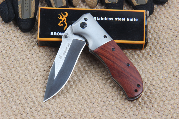 Buy Browning DA51 Stainless Steel Tactical Folding Knife Wood Handle for Outdoor Survival Camping Hunting Household cheap