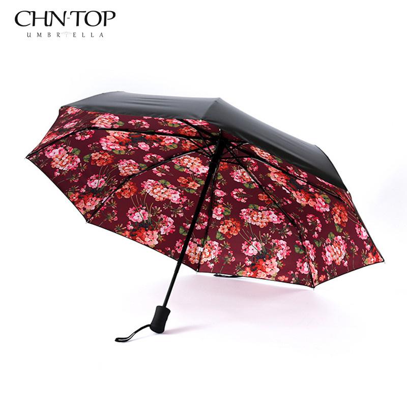 Art Fancy Automatic 3 Fold Black Coating Rain/Sun Umbrella For Women Plegable Automatic Sombrillas Paraguas Mujer Umbrellas(China (Mainland))