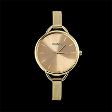 2016 Luxury Golden Women dress wrist watches Brand WoMaGe Ladies ultra slim stainless steele mesh mini Bracelet Quartz watch