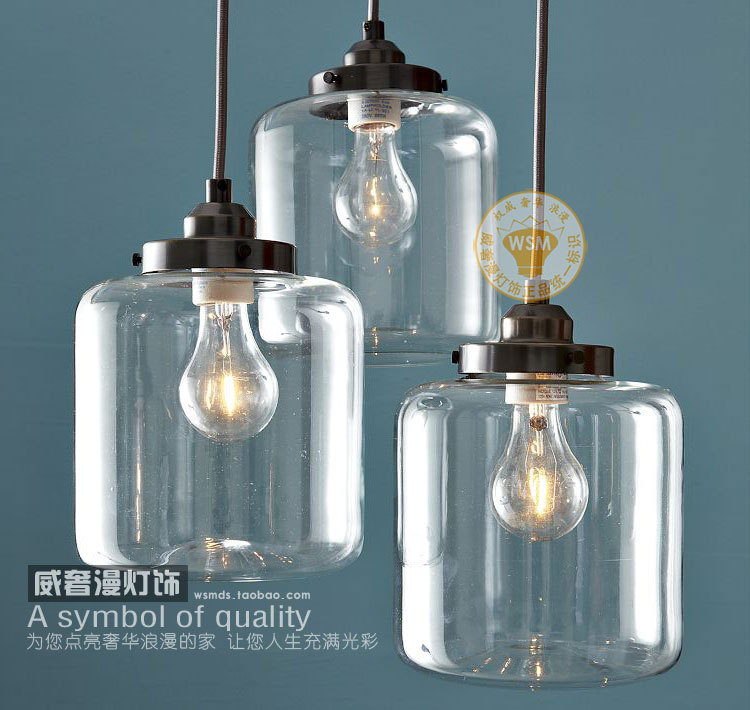1 vintage retro clear glass bottle pendant light mason jar for Dining room 3 pendant lights