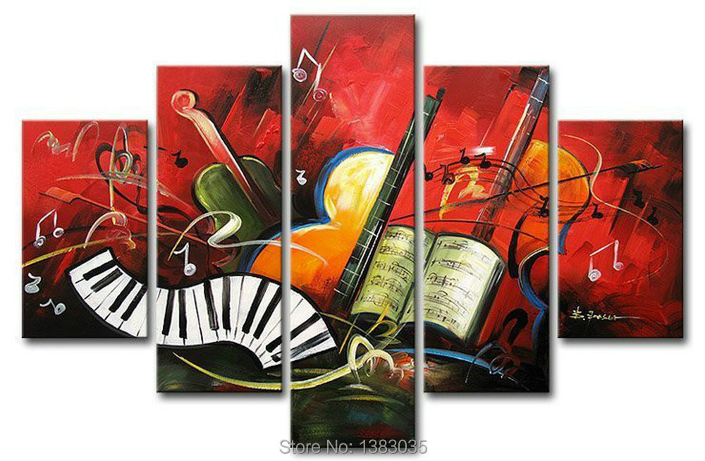 Hand Painted 5 Piece Modern Abstract Oil Painting Musical Instruments Huge Canvas Wal Art Home Decor Picture Set(China (Mainland))