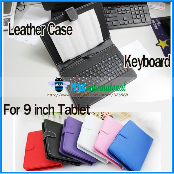 250pcs/lot Universal Portable 9 inch Table PU Protective Skin Leather Case Standard USB Keyboard For Samsung T9 Sony Q9(China (Mainland))