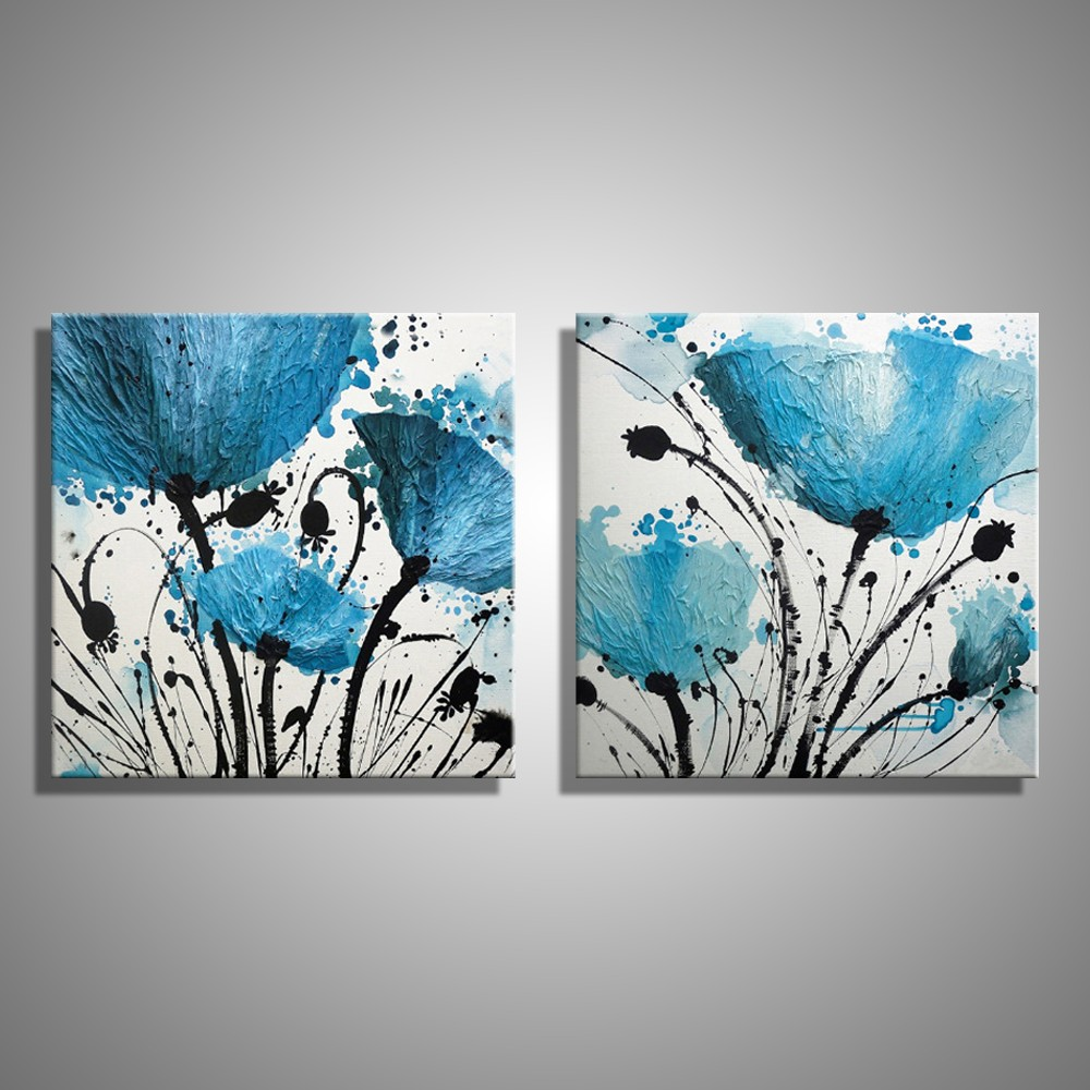 Oil Painting Canvas Abstract Blue Flower Decoration Home Decor On Canvas Modern Wall Picture For Living Room(2PCS)