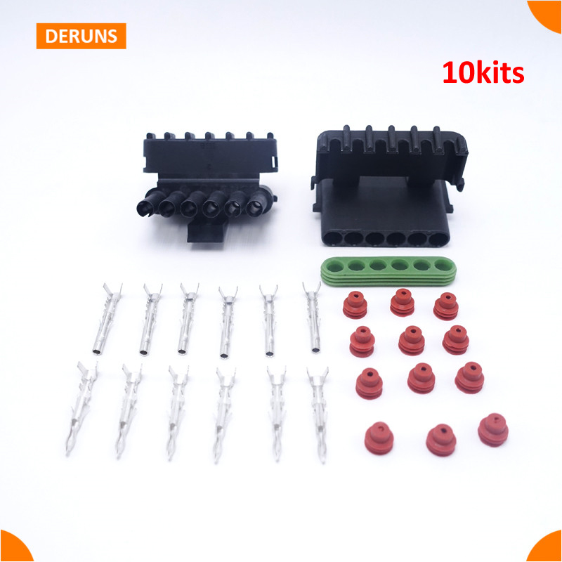 High Quality 10 Sets Kits 6 Pin Way Brand New Delphi Auto Waterproof Sealed Electric Wire Connector Plug<br><br>Aliexpress