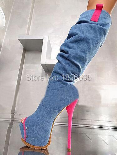 Fashion Pink toe Gladiator knee Boots Denim Zipper Women long Boots Cowboy Platform booty(China (Mainland))