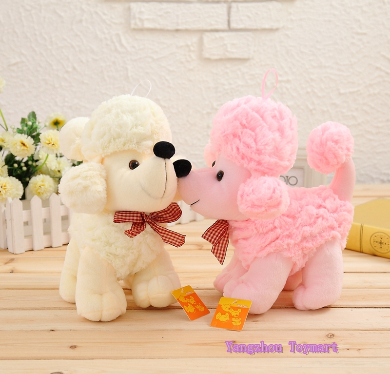 30*29CM Pink and White Stuffed Poodle Dog Toy Kids Presents Soft Plush Animal Dogs(China (Mainland))