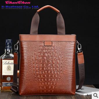 A209 new fashion crocodile grain solid color zipper Men's handbags Business one shoulder inclined shoulder bag