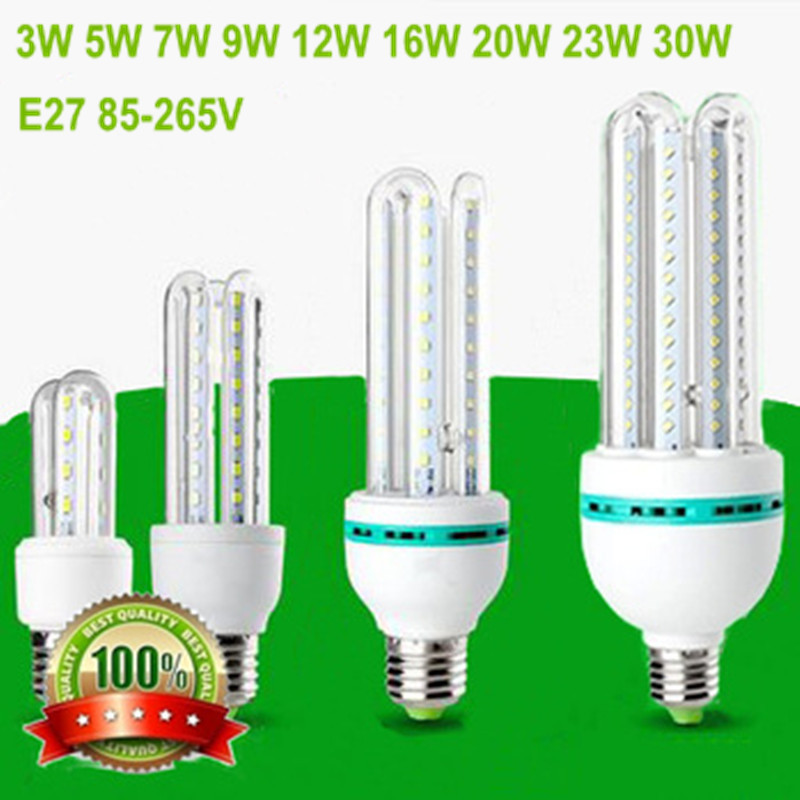 New Led Light Bulb E27 3W 5W 7W 9W 12W 16W 20W 23W 30W LED 3U 4U Energy Saving Lamps E27 Led Corn Light Bulb Indoor Led Lighting(China (Mainland))