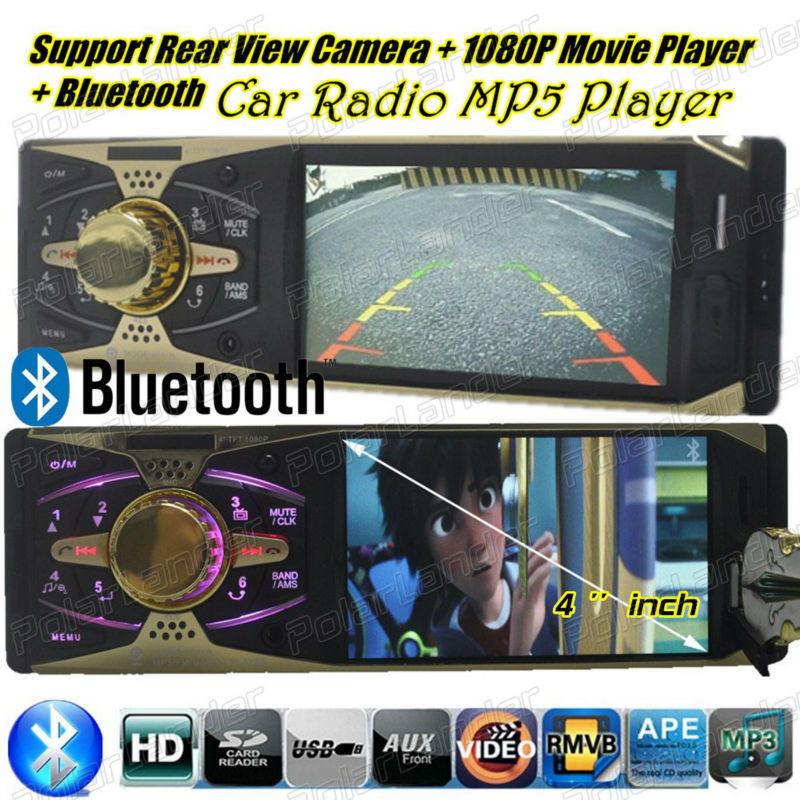 NEW 4 inch HD TFT screen car radio MP5 player bluetooth 12V audio player car audio stereo Support rear view camera USB/SD/NMC(China (Mainland))