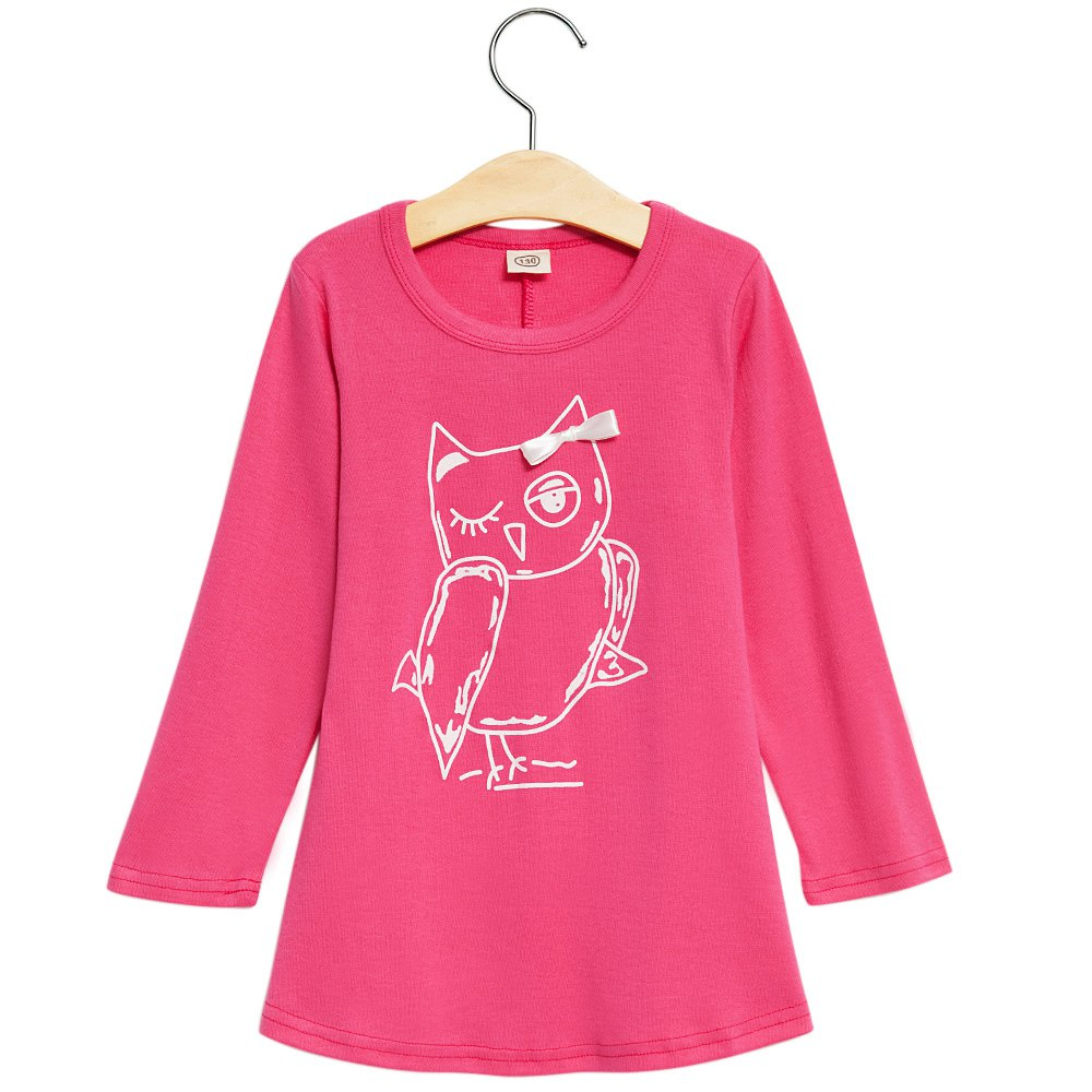 Trendy Round Neck Long Sleeve Pure Color Owl Pattern Bowknot Girl Dress Princess Dress Girls Cartoon Owl Casual Clothes 1707308(China (Mainland))