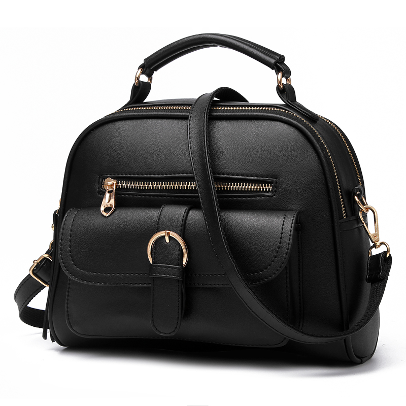 Online Shopping Summer 2015 European Style Personal Black Color Leather Doctor Bag Bag over Shoulder Elegant Office Women's Bags(China (Mainland))