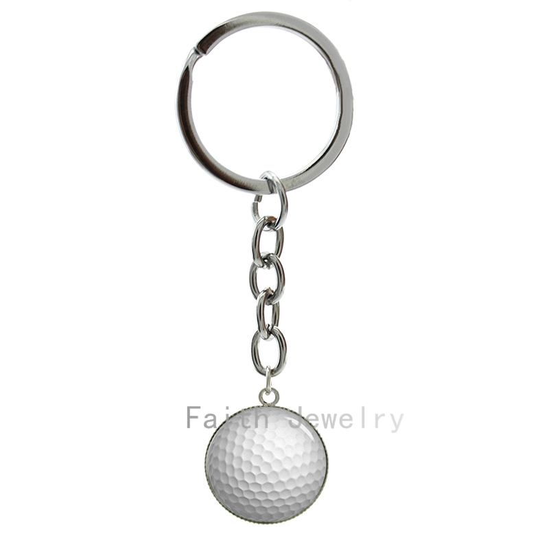 Trendy Golf Ball art picture glass dome key chains casual sports style jewelry elegant Golfer keychain gift good quality 1206(China (Mainland))