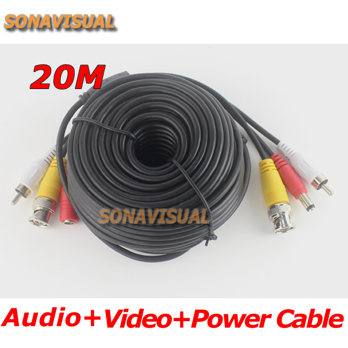 Top Video Power Audio Cable for Surveillance system BNC DC RCA 3in1 20m 65ft CCTV Camera Accessories Security Camera video cable(China (Mainland))