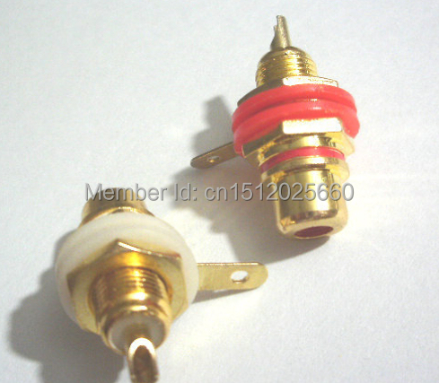 NEW!!! 10 pcs Gold Plated RCA Female Jack Panel Mount Chassis Socket Red + white(China (Mainland))