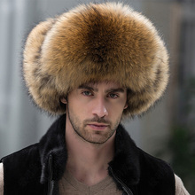 2016  Package mail fur hat men outdoor leather crown fox raccoon middle-aged MAO lei feng mo leisure(China (Mainland))