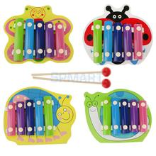 5 Tones Wooden Hand Knock Piano Xylophone Baby Play Learn Musical Beat Toy Gift(China (Mainland))