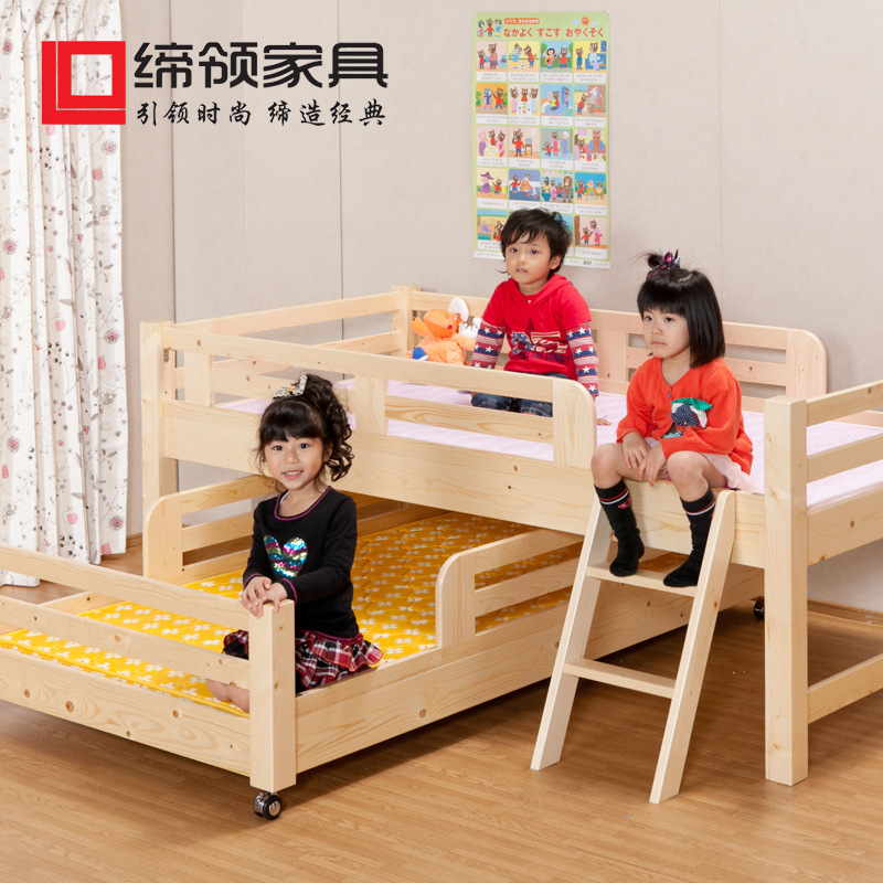 Factory direct Japanese pine wood bunk beds children bed one meter bed with Lara a generation of fat(China (Mainland))