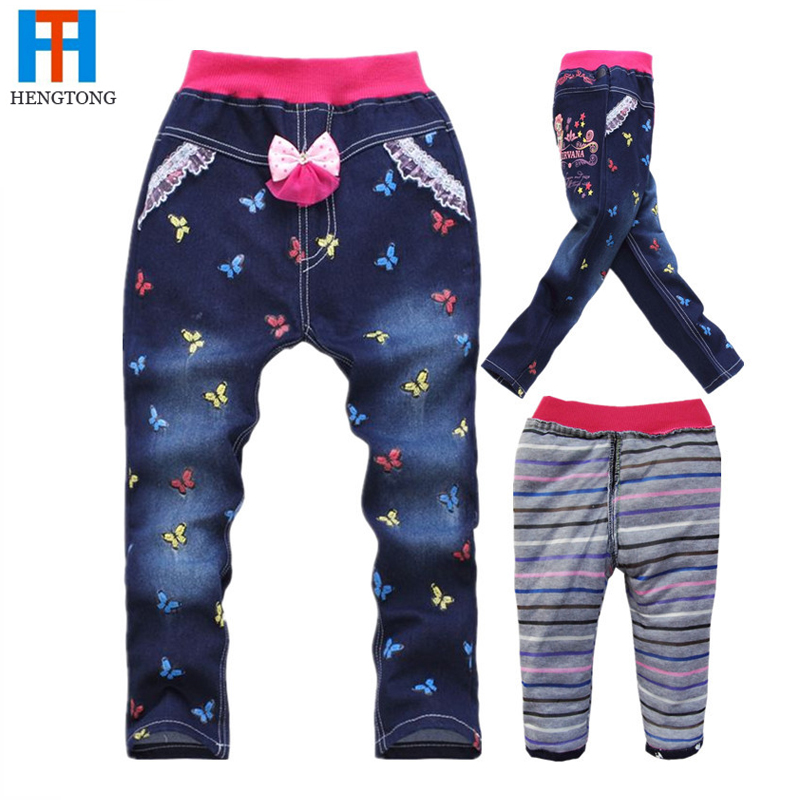 Гаджет  Retail 2014 Winter Jeans for Baby,Skinny Warm Jeans for Kids Girls,3D Butterfly Embroidery Elastic Waist Bow Pants,Leggings 2~7Y None Детские товары